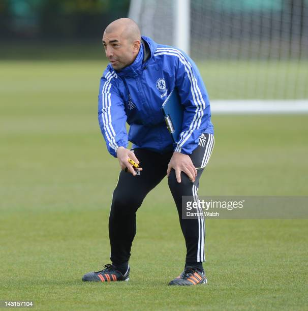 Roberto Di Matteo of Chelsea during a training session at the Cobham training ground on April 20 2012 in Cobham England