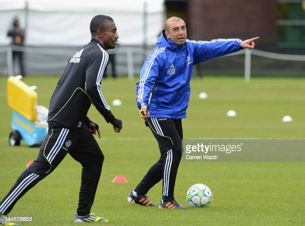 Roberto Di Matteo of Chelsea during a training session at the Cobham training ground on May 15 2012 in Cobham England
