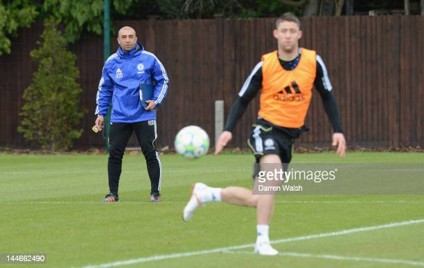 Roberto Di Matteo of Chelsea during a training session at the Cobham training ground on May 17 2012 in London England