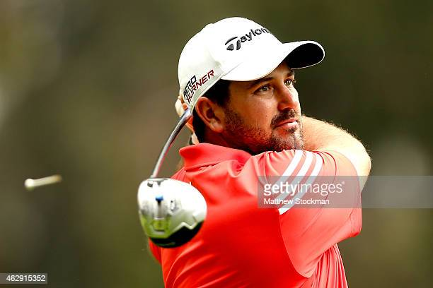 Roberto Diaz of Mexico hits off the 8th tee during a continuation of the second round of the Colombia Championship presented by Claro at the Country...