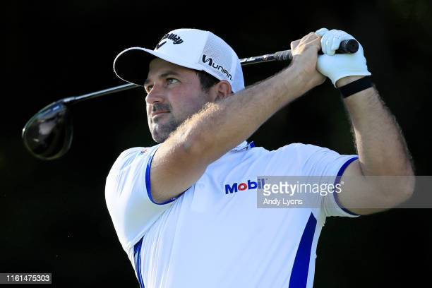 Roberto Diaz of Mexico plays his shot from the 18th tee during the first round of the John Deere Classic at TPC Deere Run on July 11 2019 in Silvis...