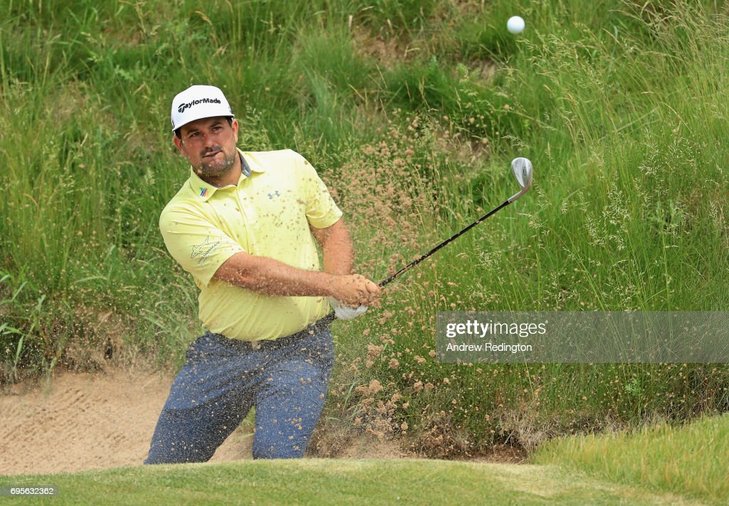 Roberto Diaz of Mexico plays his shot on the 16th hole during a practice round prior to the 2017 U.S. Open at Erin Hills on June 13, 2017 in Hartford, Wisconsin.