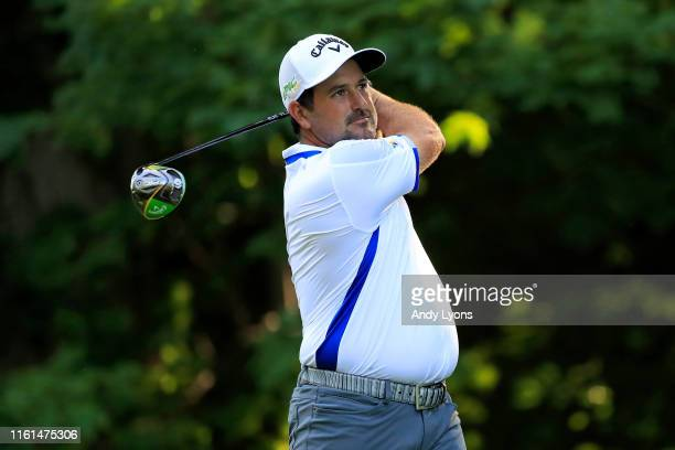 Roberto Diaz of Mexico plays his shot on the 17th tee during the first round of the John Deere Classic at TPC Deere Run on July 11 2019 in Silvis...