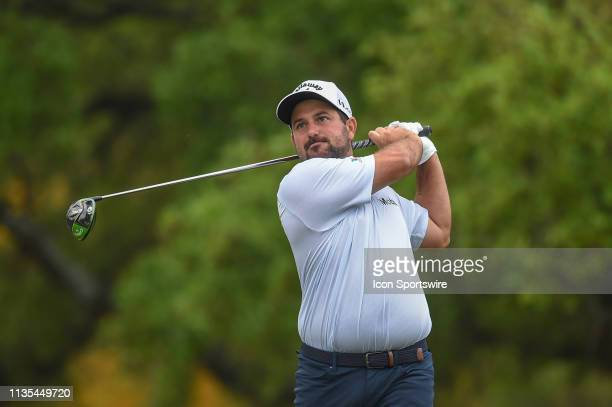 Roberto Diaz watches his tee shot on hole 2 during the third round of the Valero Texas Open on April 6 2019 at the TPC San Antonio Oaks Course in San...