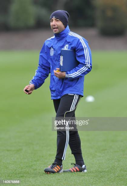 Roberto Do Matteo of Chelsea during a training session at the Cobham training ground on March 9 2012 in Cobham England