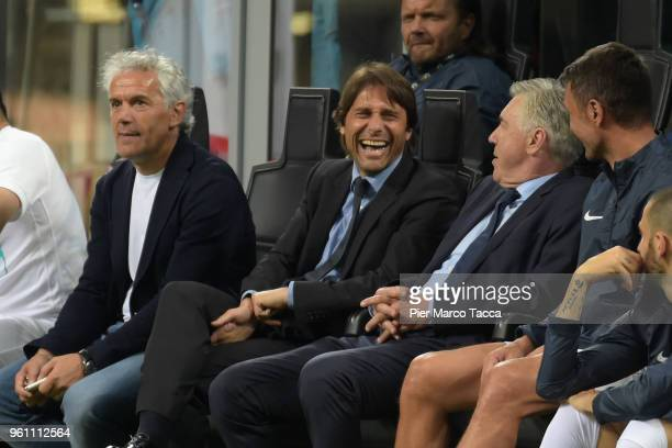 Roberto Doadoni Antonio Conte and Carlo Ancelotti during Andrea Pirlo Farewell Match at Stadio Giuseppe Meazza on May 21 2018 in Milan Italy
