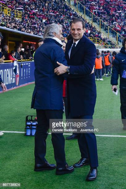 Roberto Donadoni and Massimiliano Allegri during the Serie A match between Bologna FC and Juventus at Stadio Renato Dall'Ara on December 17 2017 in...