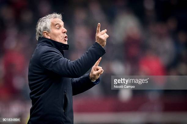 Roberto Donadoni head coach of Bologna FC gestures during the Serie A football match between Torino FC and Bologna FC Torino FC won 30 over Bologna FC