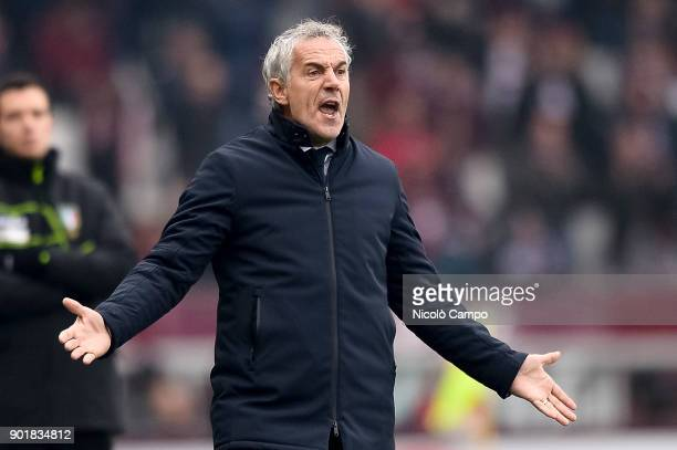 Roberto Donadoni head coach of Bologna FC is disappointed during the Serie A football match between Torino FC and Bologna FC Torino FC won 30 over...