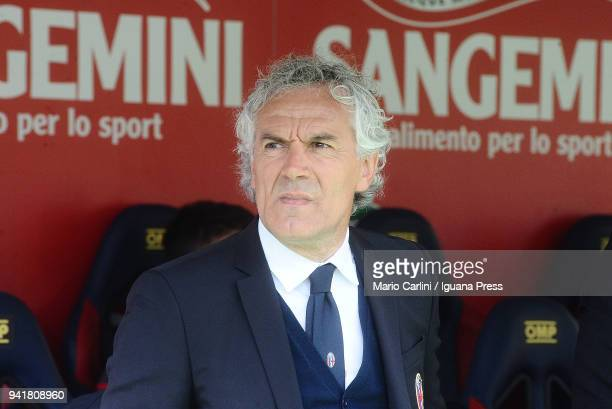 Roberto Donadoni head coach of Bologna FC looks on prior the beginning of the serie A match between Bologna FC and AS Roma at Stadio Renato Dall'Ara...
