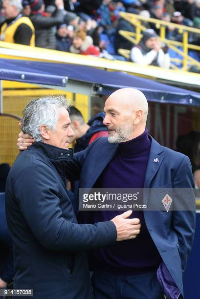Roberto Donadoni head coach of Bologna FC Stefano Pioli head coach of ACF Fiorentina greet prior the beginning of the serie A match between Bologna...