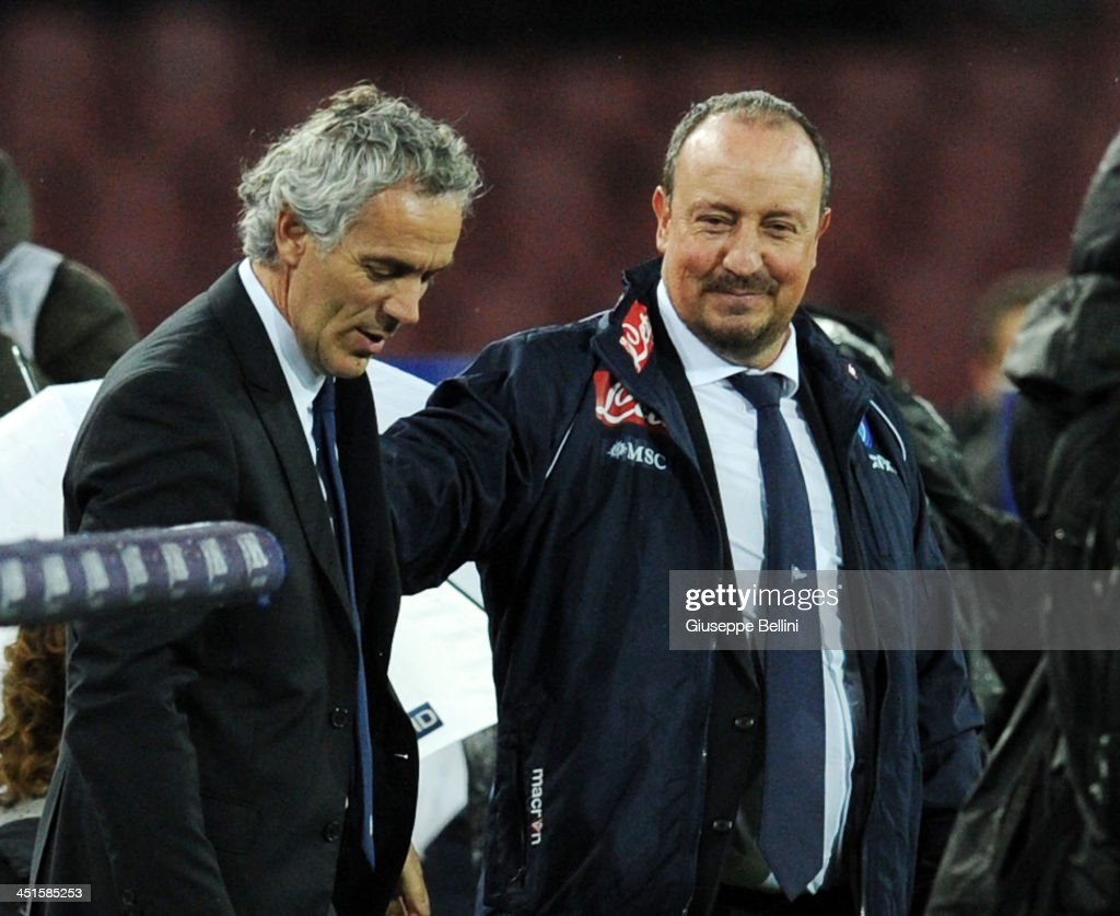Roberto Donadoni head coach of Parma and Rafael Benitez head coach of Napoli before the Serie A match between SSC Napoli and Parma FC at Stadio San Paolo on November 23, 2013 in Naples, Italy.