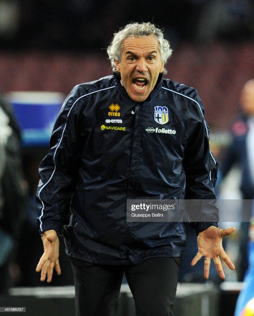 Roberto Donadoni head coach of Parma during the Serie A match between SSC Napoli and Parma FC at Stadio San Paolo on November 23, 2013 in Naples, Italy.