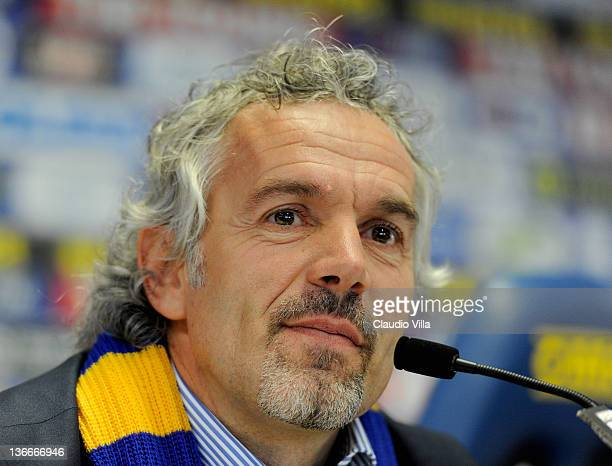 Roberto Donadoni new coach of Parma FC appears during a press conference at Stadio Ennio Tardini on January 10, 2012 in Parma, Italy.