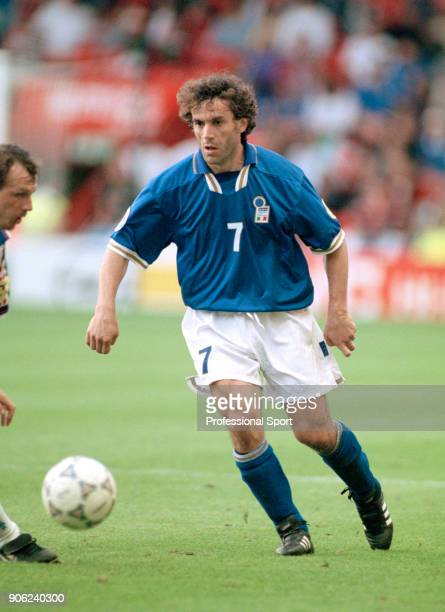 Roberto Donadoni of Italy in action during a UEFA Euro96 Group C match against the Czech Republic at Anfield in Liverpool on 14th June 1996 The Czech...