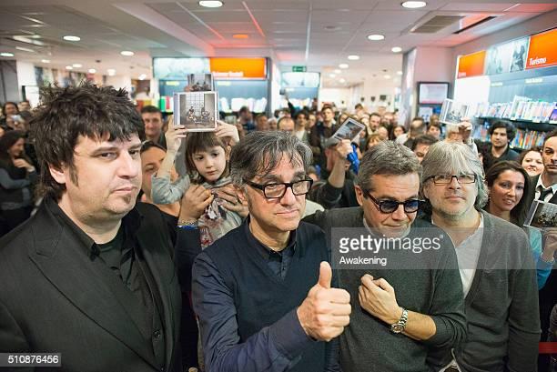Roberto Drovandi Gaetano Curreri Giovanni Pezzoli and Andrea Fornili of Stadio are seen during the presentation of their new album 'Miss Nostalgia'...