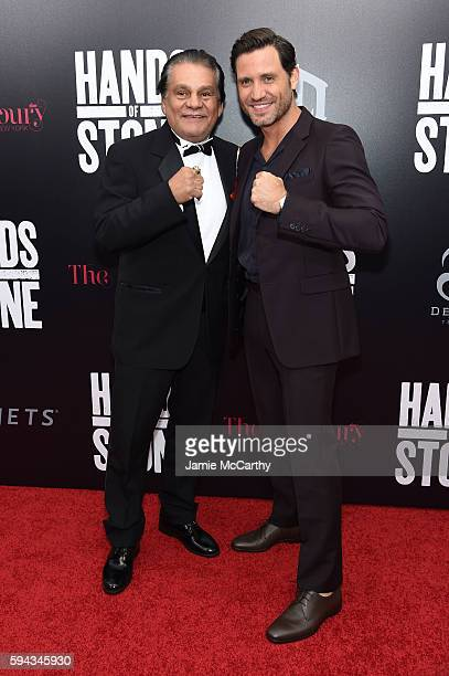 Roberto Duran and Edgar Ramirez attend the 'Hands Of Stone' US premiere at SVA Theater on August 22 2016 in New York City