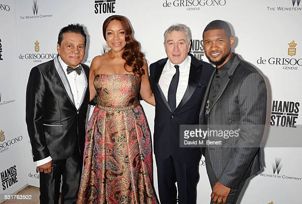 Roberto Duran Grace Hightower Robert De Niro and Usher Raymond attend The Weinstein Company's HANDS OF STONE Cocktail Party presented by de Grisogono...
