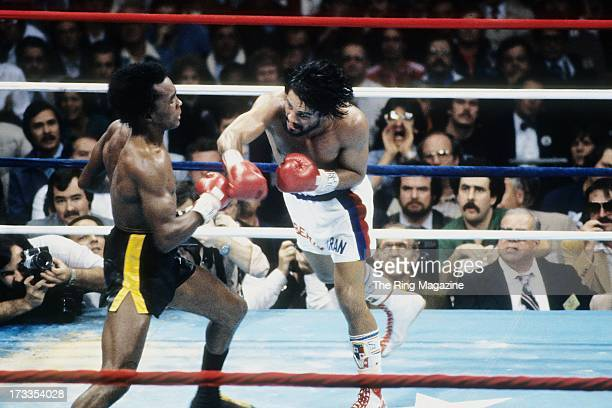 Roberto Duran leaps to land the punch against Sugar Ray Leonard during the fight at the Superdome in New Orleans, Louisiana. Sugar Ray Leonard won...