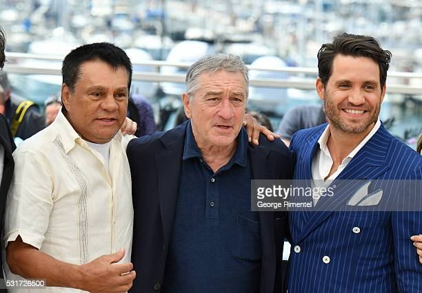 Roberto Duran Robert De Niro and Edgar Ramirez attend the 'Hands Of Stone' Photocall at the annual 69th Cannes Film Festival at Palais des Festivals...