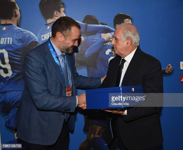 Roberto Fabbricini FIGC commissioner and Andriy Pavelko president of the Football Federation of Ukraine ayyend the International Friendly match...