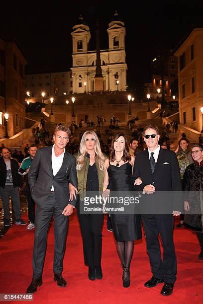Roberto Farnesi Tiziana Rocca Cecilia Peck and Daniel Voll attend 'Red Carpet In Via Condotti' on October 18 2016 in Rome Italy