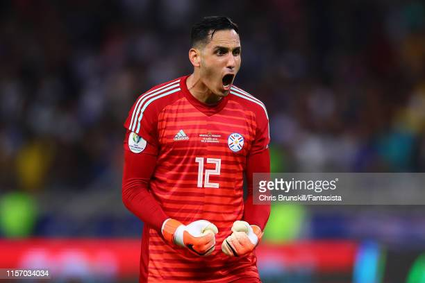 Roberto Fernandez of Paraguay celebrates the opening goal during the Copa America Brazil 2019 group B match between Argentina and Paraguay at...