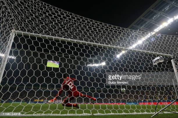 Roberto Fernandez of Paraguay fails to save Gabriel Jesus of Brazil penalty kick in the shootout after the Copa America Brazil 2019 quarterfinal...