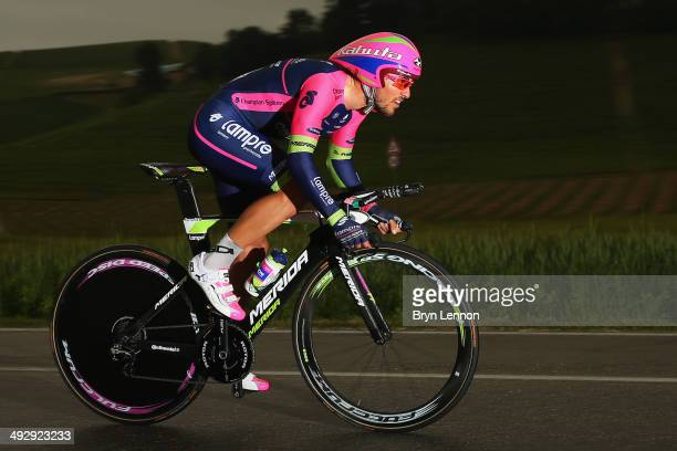Roberto Ferrari of Italy and LampreMerida in action during the twelfth stage of the 2014 Giro d'Italia a 42km Individual Time Trial stage between...
