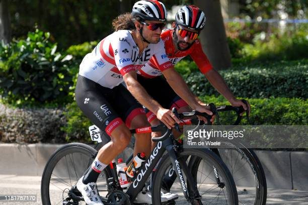 Roberto Ferrari of Italy and UAE - Team Emirates / Fernando Gaviria of Colombia and UAE - Team Emirates Red Leader Jersey / during the 3rd Tour of...