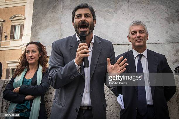 Roberto Fico Paola Taverna and Nicola Morra during the anifestation of the 5 Star Movement in support of the bill to halve the salaries of...