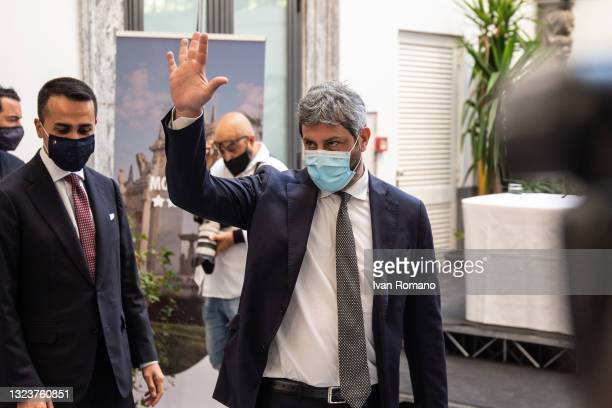 Roberto Fico president of the Chamber of Deputies during the press conference on June 15, 2021 in Naples, Italy. The political head of the 5 Star...