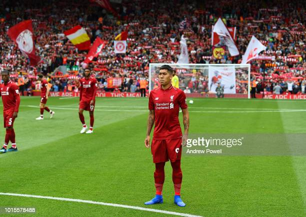 Roberto Fimrino of Liverpool before the Premier League match between Liverpool FC and West Ham United at Anfield on August 12 2018 in Liverpool...