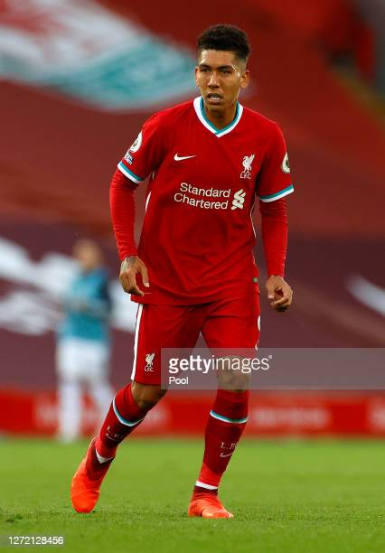 Roberto Firminho of Liverpool runs on during the Premier League match between Liverpool and Leeds United at Anfield on September 12, 2020 in...