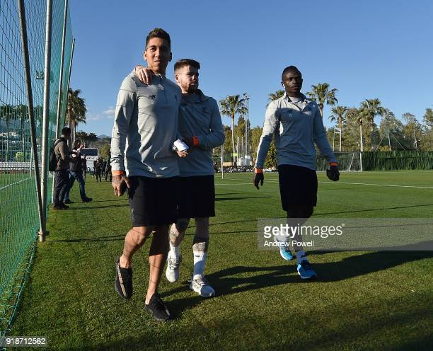 Roberto Firmino Alberto Moreno and Sadio Mane of Liverpool during a training session at the Marbella Football Center on February 15 2018 in Marbella...