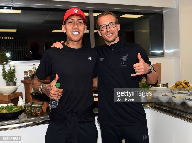 Roberto Firmino and Lucas of Liverpool at Melwood Training Ground on May 22 2017 in Liverpool England
