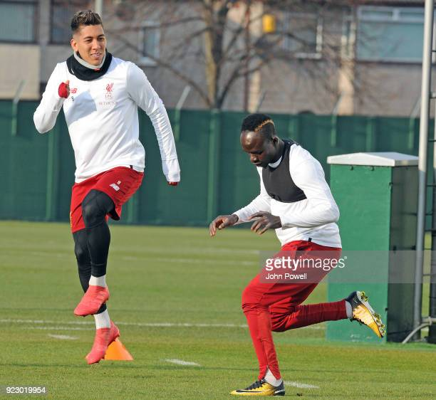 Roberto Firmino and Sadio Mane of Liverpool during a training session at Melwood Training Ground on February 22 2018 in Liverpool England