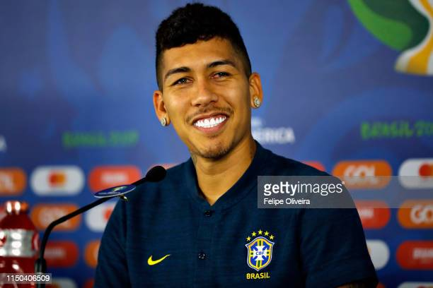 Roberto Firmino attends a media during a press conference at Arena Fonte Nova on June 17 2019 in Salvador Brazil
