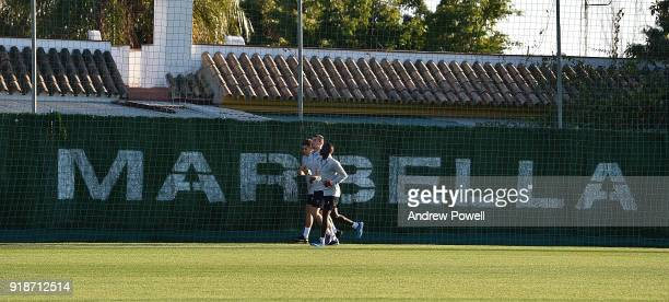 Roberto Firmino Dejan Lovren and Sadio Mane of Liverpool during a training session at the Marbella Football Center on February 15 2018 in Marbella...