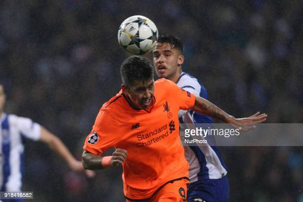 Roberto Firmino forward of Liverpool in action with Porto's Mexican defender Diego Reyes during the UEFA Champions League match between FC Porto and...
