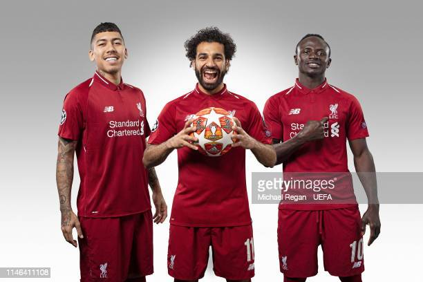 Roberto Firmino, Mohamed Salah and Sadio Mane at Melwood Training Ground on May 14, 2019 in Liverpool, England.