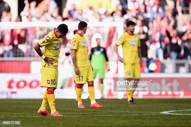 Roberto Firmino of 1899 Hoffenheim looks dejected during the Bundesliga match between 1 FC Koeln and 1899 Hoffenheim at RheinEnergieStadion on April...