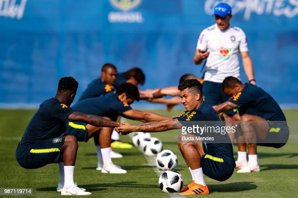 Roberto Firmino of Brazil and Fred of Brazil take part during a Brazil training session on June 29 2018 in Sochi Russia