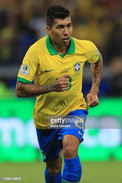 Roberto Firmino of Brazil celebrates after scoring the second goal of his team during the Copa America Brazil 2019 Semi Final match between Brazil...
