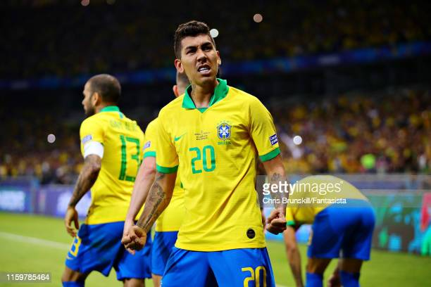 Roberto Firmino of Brazil celebrates the opening goal during the Copa America Brazil 2019 Semi Final match between Brazil and Argentina at Mineirao...