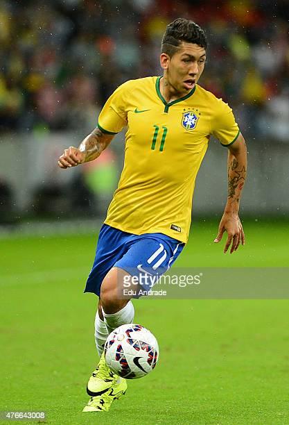 Roberto Firmino of Brazil controls the ball during the international friendly match between Brazil and Honduras at Beira Rio Stadium on June 10 2015...