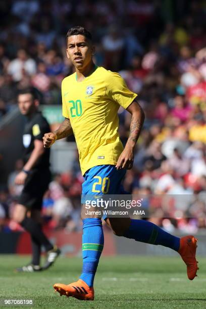 Roberto Firmino of Brazil during the International friendly match between Croatia and Brazil at Anfield on June 3, 2018 in Liverpool, England.