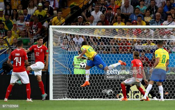 Roberto Firmino of Brazil heads the ball wide during the 2018 FIFA World Cup Russia group E match between Brazil and Switzerland at Rostov Arena on...