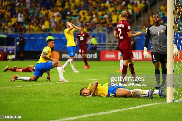 Roberto Firmino of Brazil reacts during the Copa America Brazil 2019 group A match between Brazil and Venezuela at Arena Fonte Nova on June 18 2019...