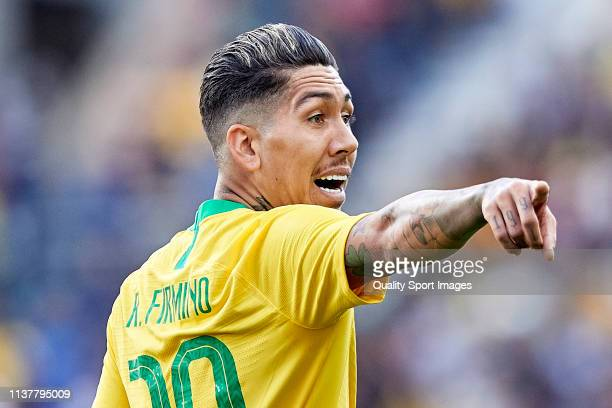 Roberto Firmino of Brazil reacts during the International Friendly match between Brazil and Panama at Estadio do Dragao on March 23 2019 in Porto...